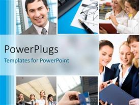 PowerPlugs: PowerPoint template with a number of people doing their work with office material