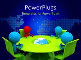 PowerPlugs: PowerPoint template with a number of people during a meeting with map in the background