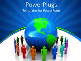 PowerPlugs: PowerPoint template with a number of people encircling the Earth