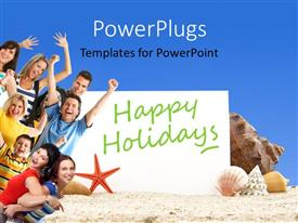 PowerPoint template displaying a number of people enjoying on the beach