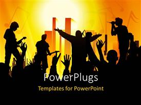 PowerPlugs: PowerPoint template with a number of people enjoying a concert with orange background