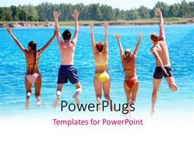 PowerPlugs: PowerPoint template with a number of people enjoying on the lake by jumping in air