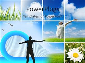 PowerPlugs: PowerPoint template with a number of people enjoying the weather with clouds in background
