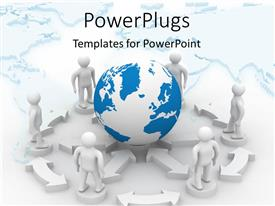 PowerPlugs: PowerPoint template with a number of people with a globe in the background