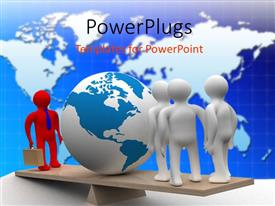 PowerPlugs: PowerPoint template with a number of people with a globe and map in the background