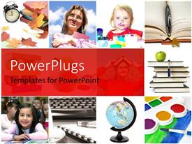 PowerPlugs: PowerPoint template with a number of people and a globe with reddish background