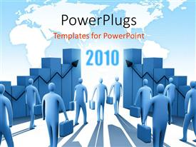 PowerPlugs: PowerPoint template with a number of people going towards the new year