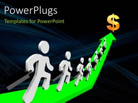PowerPlugs: PowerPoint template with a number of people on the green arrow with a dollar sign in front