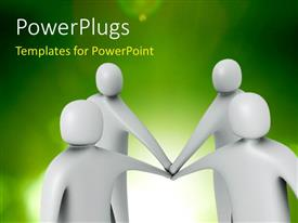 PowerPlugs: PowerPoint template with a number of people with greenish background and place for text