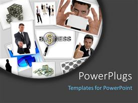 PowerPoint template displaying a number of people with greyish background