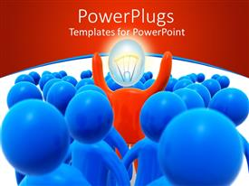 PowerPlugs: PowerPoint template with a number of people in a group with one having an idea