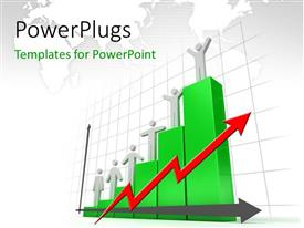 PowerPlugs: PowerPoint template with a number of people on the growth bar with map in the background