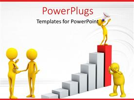 PowerPlugs: PowerPoint template with a number of people on the growth graph with white background