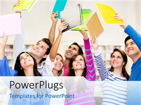 PowerPlugs: PowerPoint template with a number of people happily looking at their registers