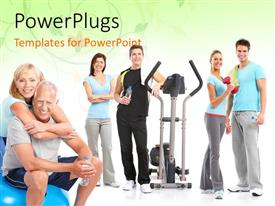 PowerPlugs: PowerPoint template with a number of people who are healthy because of exercise