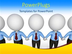 PowerPlugs: PowerPoint template with a number of people holding their hands with bluish background