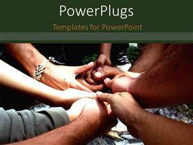 PowerPlugs: PowerPoint template with a number of people holding their hands with greenery in the background