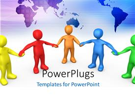 PowerPlugs: PowerPoint template with a number of people holding their hands with map in the background