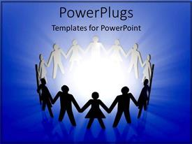 PowerPlugs: PowerPoint template with a number of people holding hands and standing in a circular form