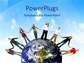 PowerPlugs: PowerPoint template with a number of people holding their hands together standing on Earth