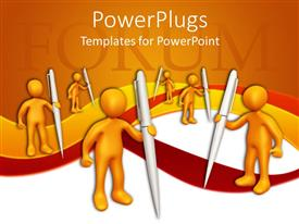 PowerPlugs: PowerPoint template with a number of people holding the pens with orange background