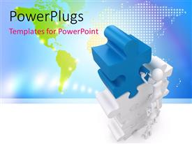 PowerPlugs: PowerPoint template with a number of people holding the puzzle tower with map in the background