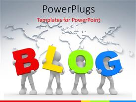 PowerPoint template displaying a number of people holding the word blog