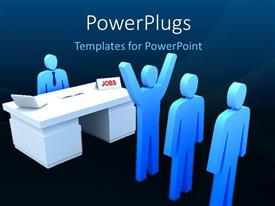 PowerPoint template displaying a number of people with a job table with bluish background