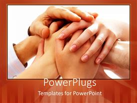 PowerPlugs: PowerPoint template with a number of people joining their hands