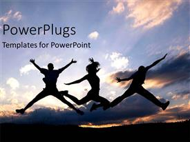 PowerPlugs: PowerPoint template with a number of people jumping on the beach