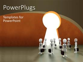 PowerPlugs: PowerPoint template with a number of people with a keyhole and place for text