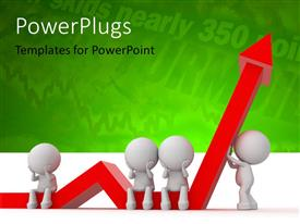 PowerPlugs: PowerPoint template with a number of people lifting the growth arrow with greenish background
