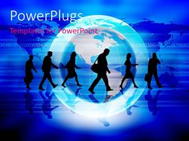 PowerPlugs: PowerPoint template with a number of people in a line with globe in the background