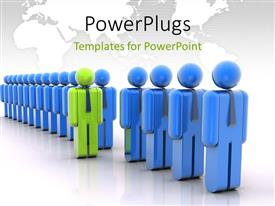 PowerPlugs: PowerPoint template with a number of people in a line with a green one in front of line