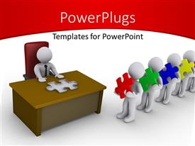 PowerPlugs: PowerPoint template with a number of people in a line for an interview