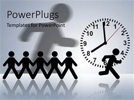 PowerPoint template displaying a number of people in a line with one running in front