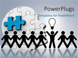 PowerPoint template displaying a number of people in a line with puzzle in the background