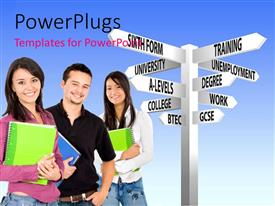 PowerPlugs: PowerPoint template with a number of people with a lot of signs in the background