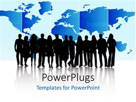 PowerPlugs: PowerPoint template with a number of people and a map in the background