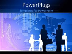 PowerPlugs: PowerPoint template with a number of people with a map in the background