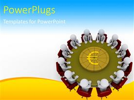 PowerPoint template displaying a number of people in a meeting with bluish background
