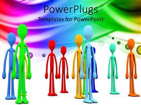 PowerPlugs: PowerPoint template with a number of people with multicolored background