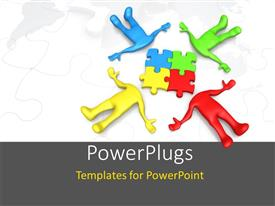 PowerPlugs: PowerPoint template with a number of people with a number of puzzle pieces
