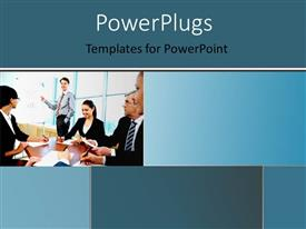 PowerPlugs: PowerPoint template with a number of people in the office with windows in background