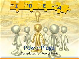 PowerPlugs: PowerPoint template with a number of people with one of them having an idea