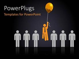 PowerPlugs: PowerPoint template with a number of people with one holding the balloons