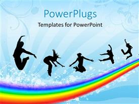 PowerPlugs: PowerPoint template with a number of people over the rainbow