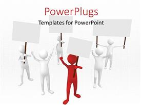 PowerPlugs: PowerPoint template with a number of people protesting with grayish background