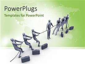 PowerPoint template displaying a number of people pulling the rope