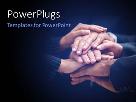 PowerPlugs: PowerPoint template with a number of people putting their hands on each other